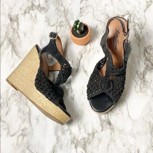 Lucky Brand Black Woven Wedges Heels Size 6.5